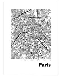 Premium-Poster  Stadtplan von Paris - 44spaces