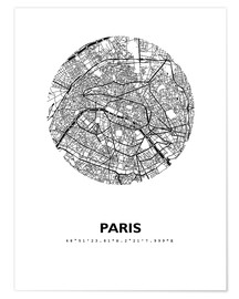Poster  Stadtplan von Paris - 44spaces