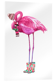 Acrylglasbild  Rosafarbener Flamingo mit Gummistiefeln - Kidz Collection