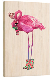 Holzbild  Rosa Flamingo mit Gummistiefeln - Kidz Collection