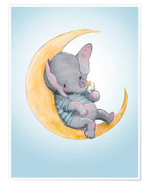 Premium-Poster  Elefant im Mond - Kidz Collection