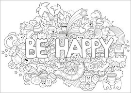 Ausmalposter Be happy