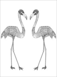 Ausmalposter  Flamingo-Paar - Sharon Turner