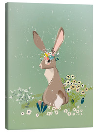 Leinwandbild  Hase mit Wildblumen - Kidz Collection