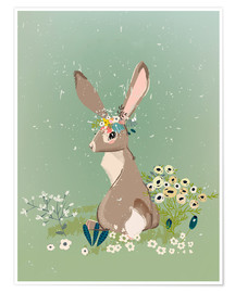 Premium-Poster  Hase mit Wildblumen - Kidz Collection
