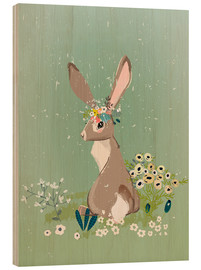 Holzbild  Hase mit Wildblumen - Kidz Collection