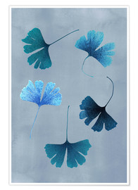 Premium-Poster Ginko Leaves Blue