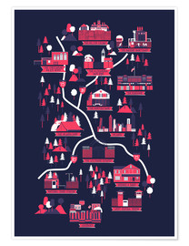 Premium-Poster  The Walking Dead Map - Robert Farkas