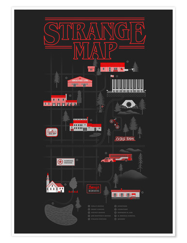Premium-Poster Stranger Things map