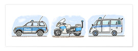Premium-Poster  Hugos  Polizei 3-er Set - Hugos Illustrations