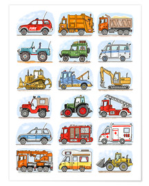 Poster  Alle meine Autos - Hugos Illustrations