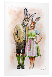 Hartschaumbild  RABBIT PAIR - Peter Guest