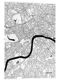 Acrylglasbild  London England Karte - Main Street Maps