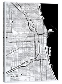 Leinwandbild  Chicago USA Karte - Main Street Maps