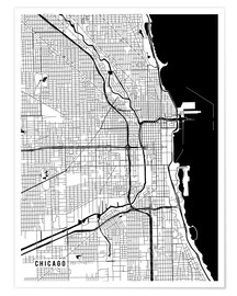 Premium-Poster  Chicago USA Karte - Main Street Maps