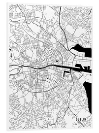 Hartschaumbild  DUBLIN IRELAND MAP - Main Street Maps
