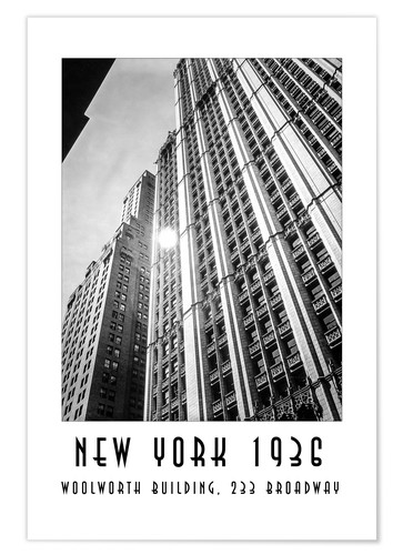 Premium-Poster Historisches New York - Woolworth Building, 233 Broadway
