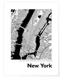 Premium-Poster  Stadtplan von New York - 44spaces