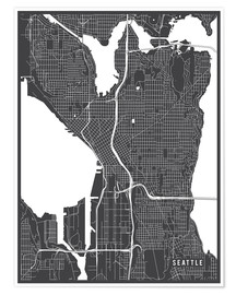 Premium-Poster  Seattle USA Karte - Main Street Maps