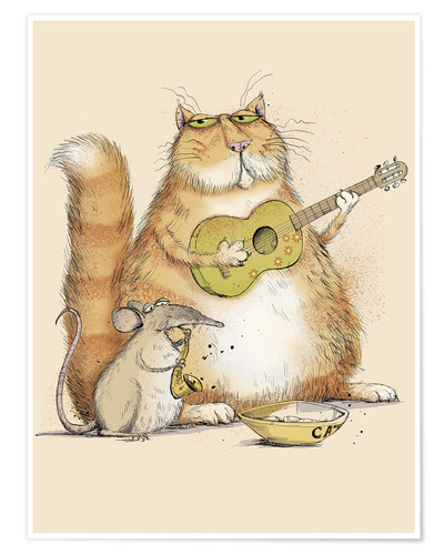 Premium-Poster Cat and mouse playing music