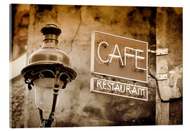 age fotostock - Cafe sign and lamp post, Paris, France.