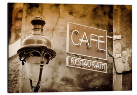 Alu-Dibond  Cafe sign and lamp post, Paris, France. - age fotostock