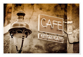 Premium-Poster  Cafe sign and lamp post, Paris, France. - age fotostock
