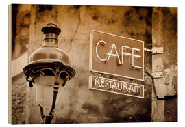 Holzbild  Cafe sign and lamp post, Paris, France. - age fotostock