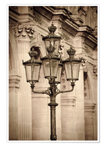 Premium-Poster Lamp posts and columns at the Louvre Palace, Louvre Museum, Paris, France.