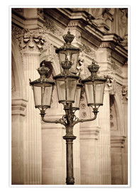 Premium-Poster  Lamp posts and columns at the Louvre Palace, Louvre Museum, Paris, France. - age fotostock