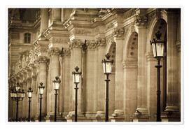 Premium-Poster  Lamp posts and columns at Louvre - age fotostock
