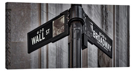 Leinwandbild  NYC Wall Street And Broadway Sign-New York City´s Broadway Canyon of Heroes and Wall Street Sign. - age fotostock