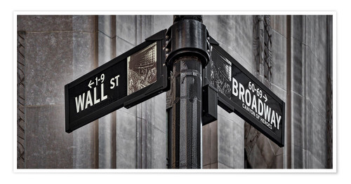 Premium-Poster NYC Wall Street And Broadway Sign-New York City´s Broadway Canyon of Heroes and Wall Street Sign.
