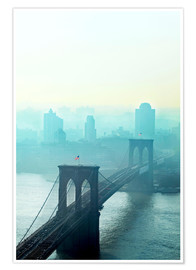 Premium-Poster Brooklyn Bridge in turquoise