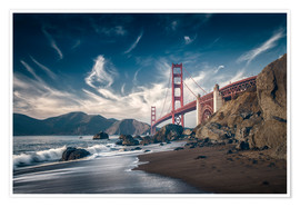 Premium-Poster  Strand und Golden Gate Bridge - Westend61