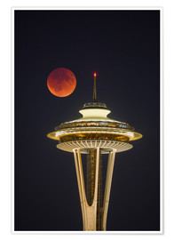 Poster  Blutmond über Seattle Space Needle - Gary Luhm