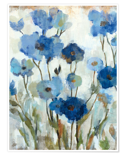 Premium-Poster Abstracted Floral in Blue II