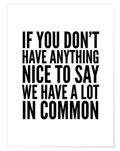 Premium-Poster If You Don't Have Anything Nice To Say We Have A Lot In Common