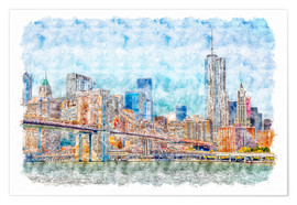 Premium-Poster New York Skyline mit Brooklyn Bridge