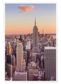 Poster Manhattan Skyline, Empire State Building, Sonnenuntergang
