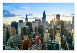 Premium-Poster Manhattan Skyline, Empire State Building und Chrysler Building