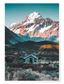 Premium-Poster Hütte am Mount Cook in Neuseeland