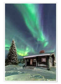 Premium-Poster  Northern Lights frame a wooden hut - Roberto Moiola