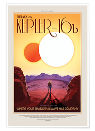 Premium-Poster Retro Space Travel – Kepler16b