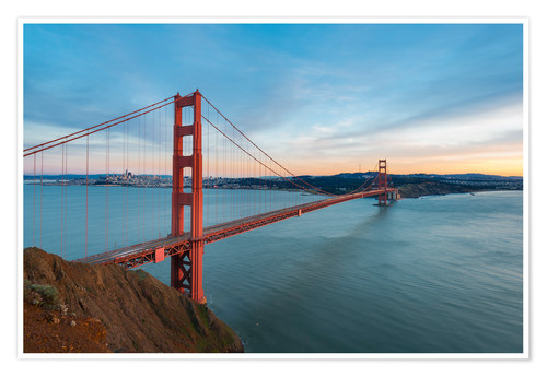 Premium-Poster San Francisco - Golden Gate Bridge bei Sonnenuntergang