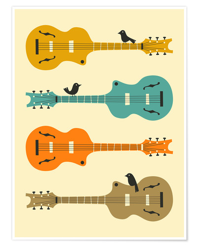 Premium-Poster BIRDS ON GUITAR STRINGS