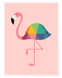 Premium-Poster Regenbogen-Flamingo