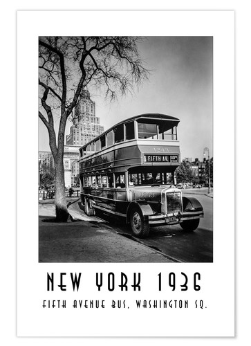 Premium-Poster Historisches New York - 10 Fifth Avenue Bus, Washington Square