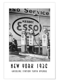 Premium-Poster Historisches New York - Gasoline Station Tenth Avenue, Manhattan