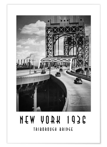 Premium-Poster Historisches New York - Triborough Bridget, Manhattan